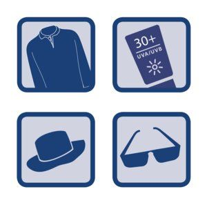 Wear a shirt, sunscreen, a hat and sunglasses to protect yourself from the sun.