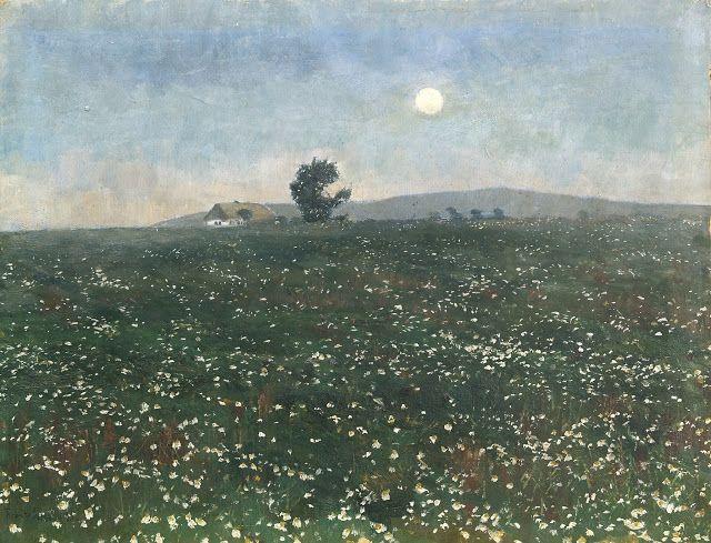 Frantisek Kavan (1866-1941), Na louce při měsíčku - 1895
