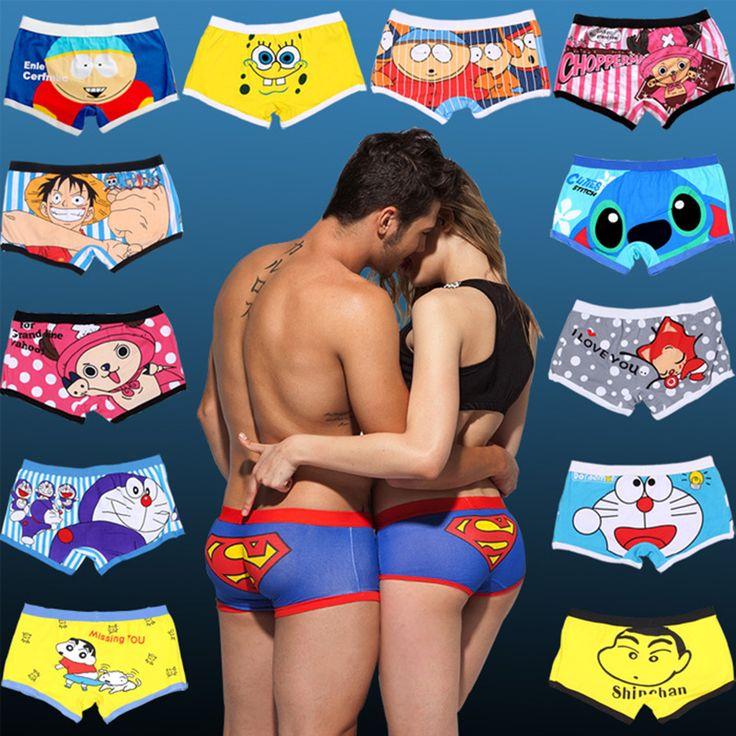 Free Shipping high quality brand mens cartoon underwear Low waist sexy man boxer cotton shorts underpants couple panties cartoon