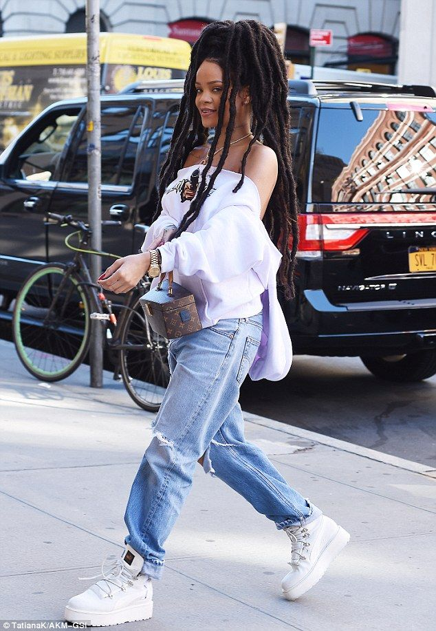 Her own best advert: The Work hitmaker teamed the streetwear influenced look with a pair of her own Fenty x Puma sneaker boots