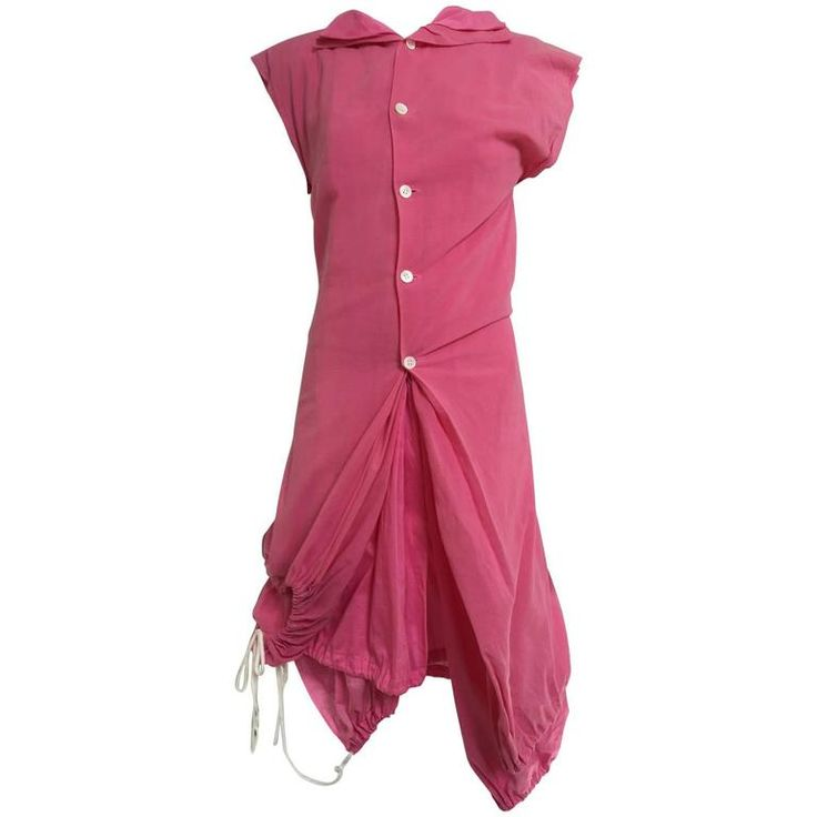 2007 Comme Des Garcons buble gum pink cotton double layer shirt dress | From a collection of rare vintage casual-dresses at https://www.1stdibs.com/fashion/clothing/day-dresses/casual-dresses/