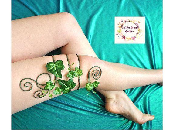 Poison ivy leg cuff mother nature tree people leg circlet leg wrap costume accessory