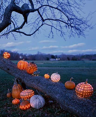 the lights in the pumpkin is a great idea to incorporate them into the decorations