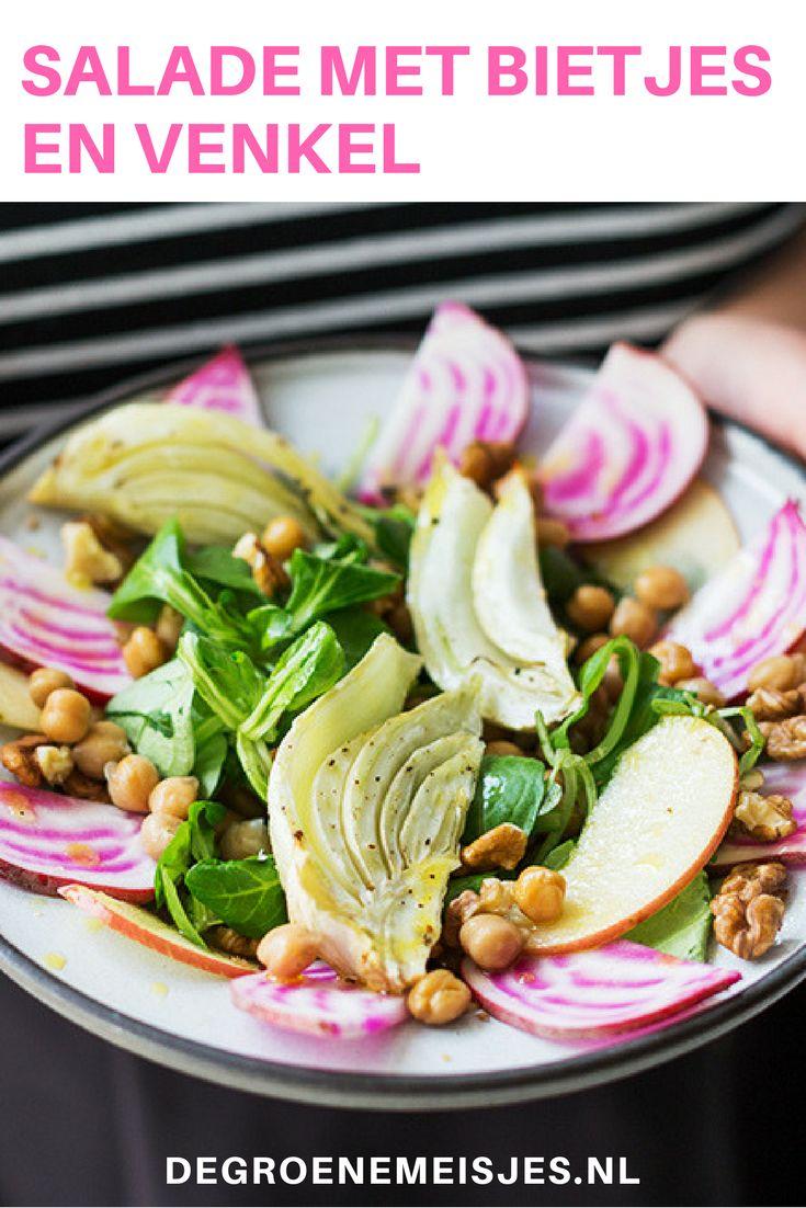 Salade met bietjes en venkel. Deze salade is ontzettend geschikt om een beetje indruk op mensen te maken. Kijk dan hoe mooi het eruit ziet. En het recept is super makkelijk om te maken met o.a. bietjes, kikkererwten, venkel, appel, walnoten. Serveer met lekker knapperig brood en een goede witte wijn. #bietjes #venkel #salade #vegan