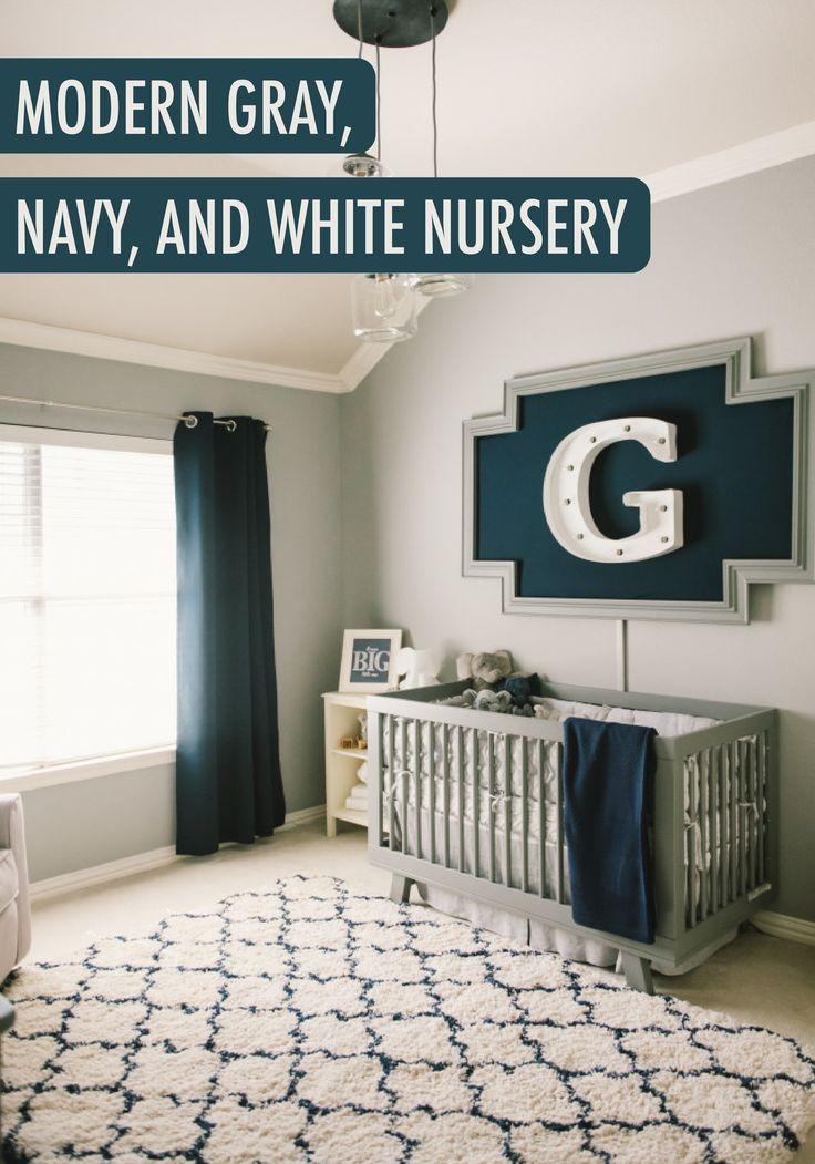 Grayson 39 S Modern Grey Navy And White Nursery Unique