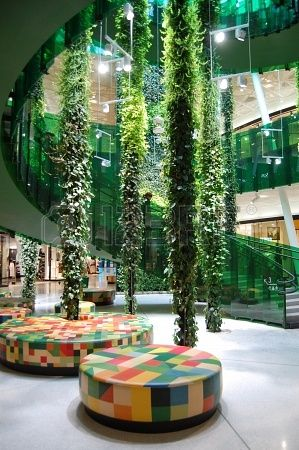 I LOVE the hanging plants!!! This is from a Shopping center Emporia Malmo, Sweden