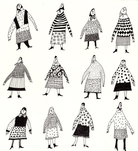 PLaY THe DRuMS / ORIGINAL ILLUSTRATION / Grandmothers / Pattern / black and white / Character design / Crowed / Funny