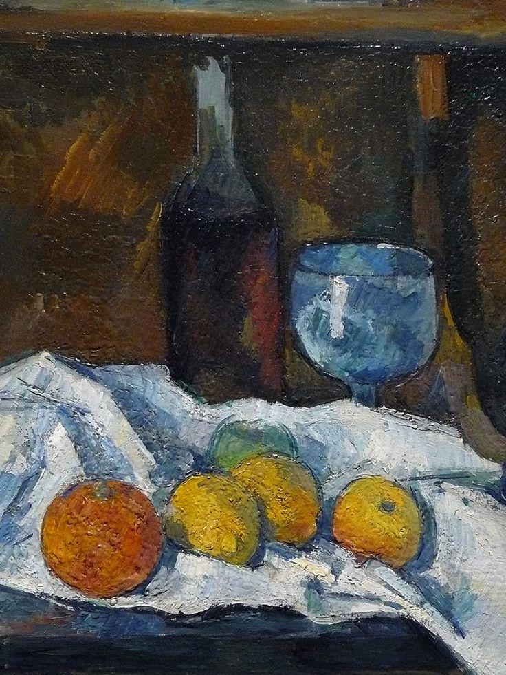 """CEZANNE,1877-79 - Le Buffet - Still Life, The Buffet (Budapest) - Detail -d  -  TAGS : details détail détails detalles painting paintings peinturepaintings """"Paul Cézanne"""" """"Paul Cezanne"""" Cezanne Cézanne """"Still life"""" """"Nature morte"""" Budapest Hongrie Hungary """"Nature morte"""" citrons citron lemon lemons orange oranges nappe """"nappe blanche"""" """"white cloth"""" chiffon cloth bleu blue tasse cup sucrier """"sugar bowl"""" buffet knife fruit food pomme apple apples glass verre dessert biscuits"""