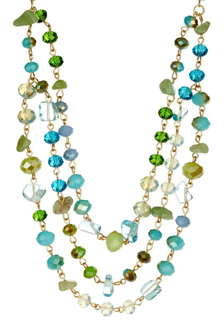 Love multi strand necklaces....and the greens and blue hues...
