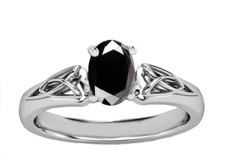 Black Oval Diamond Triquetra Celtic Engagement Ring in White Gold