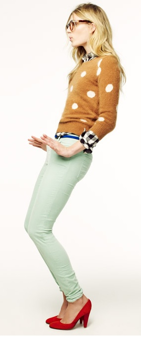 Plaid and polka and mint and red and wonderfully mismatched!Mint Pants, Sweaters, Colors Combos, Mint Green, Polka Dots, Style, Red Shoes, Outfit, Mint Jeans