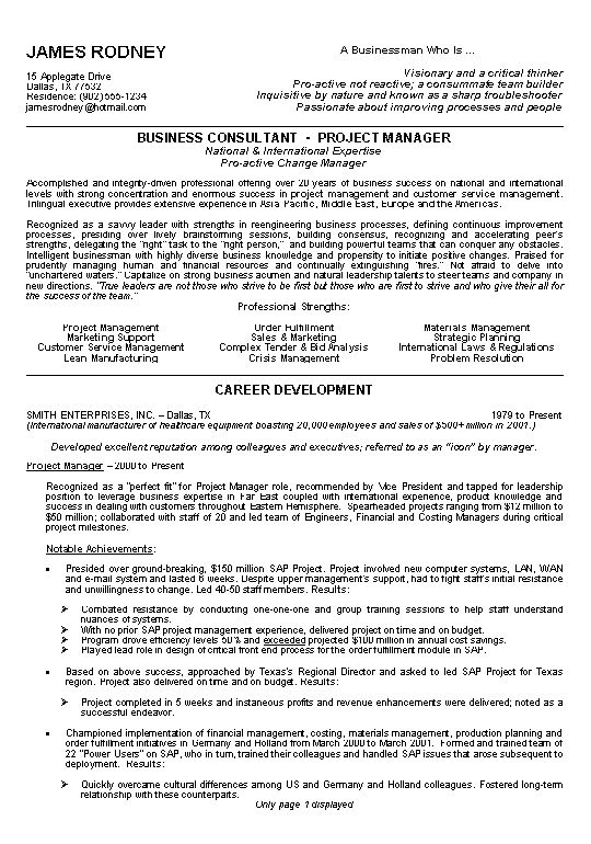 Resume Examples Make Your Powerfulbusinessprocess Samples · Project Manager  ...