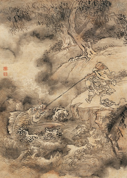 [Joseon Dynasty, 18th Century] Immortal Fishing a Dragon with Body of Fish 仙人釣龍圖