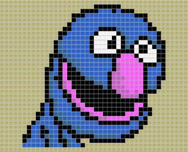 Free Grover Cross Stitch Chart or Hama Perler Bead Pattern
