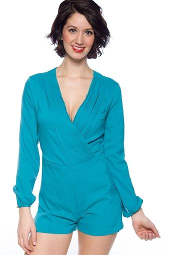 Show and Tell Wrap Front Romper - Teal from Mango/Nana at Lucky 21 : L ...