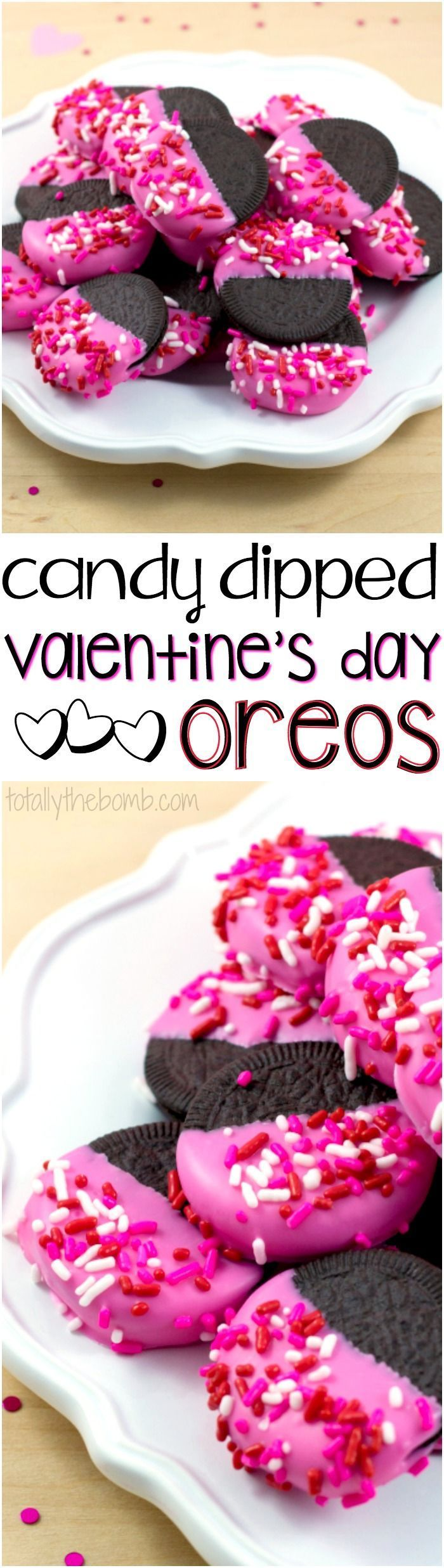The perfect gift for your cookie loving Valentine, try our Candy-Dipped Valentine's Day Oreos! | #recipe #valentine #valentinesday #cookies #snacks #treats