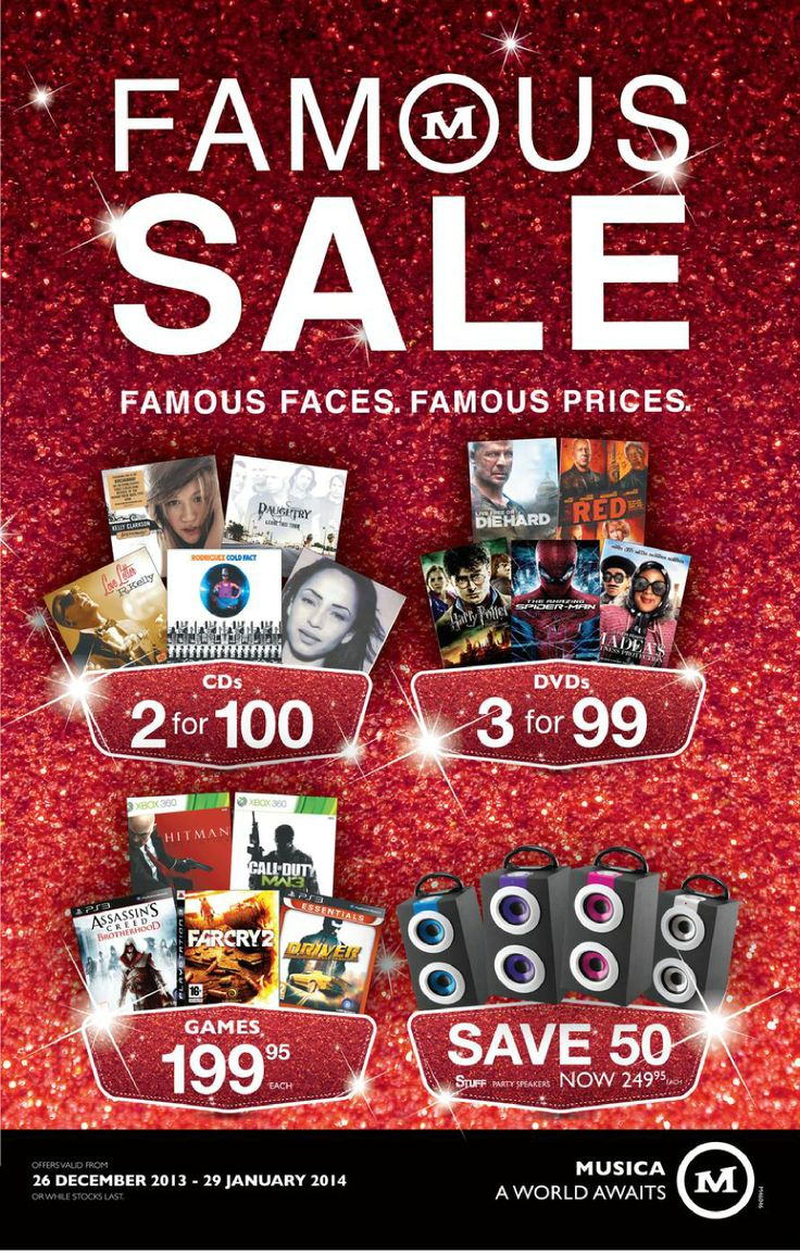 Visit www.sacatalogues.co.za for these and more CD and DVD specials.