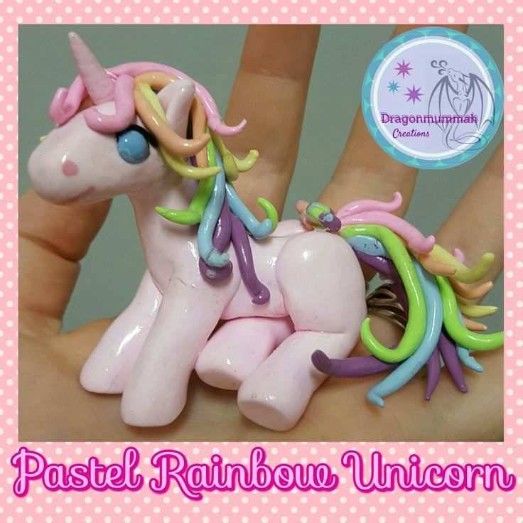 Pastel rainbow unicorn made from polymer clay www.facebook.com/dragonmummah