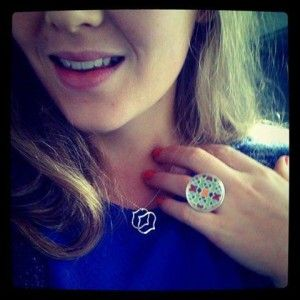 Miss K wearing Entertained Ring, and Patterned Pendant. Schwarzie™