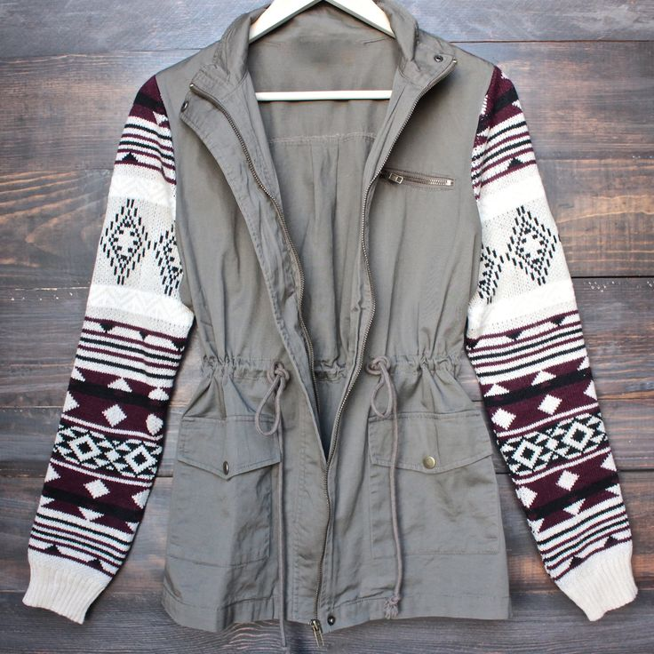 green cargo jacket with aztec pattern knit sleeves