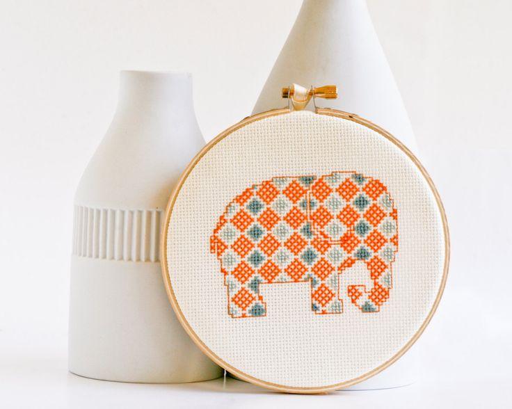 Cross stitch pattern PDF - Little elephant in orange and blue. $4.00, via Etsy.