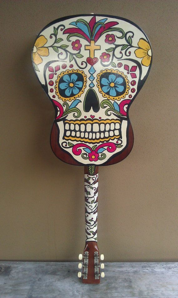 "Handpainted sugar skull guitar @   <a href=""http://www.etsy.comlisting/130879499/unique-original-hand-painted-guitar"" rel=""nofollow"" target=""_blank"">www.etsy.com...</a> http://www.etsy.comlisting/130879499/unique-original-hand-painted-guitar"