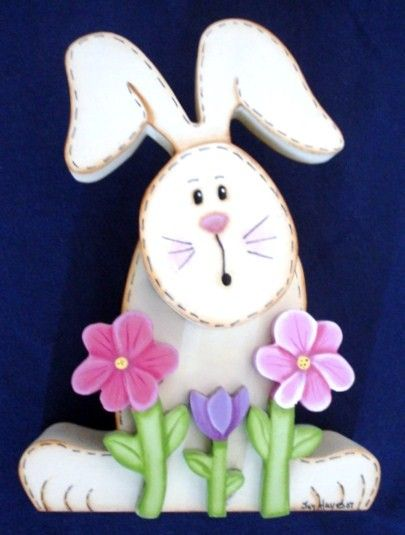 Easter Bunny and Flowers Wooden Home Decor