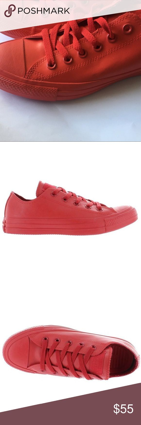 Red Leather Converse All Red Leather Converse  Used stock photos because camera photos don't show true color  Only worn 1x  Super cute, VERY RARE  SIZE 6 in men's but fits me size 9 (women's) Converse Shoes Sneakers