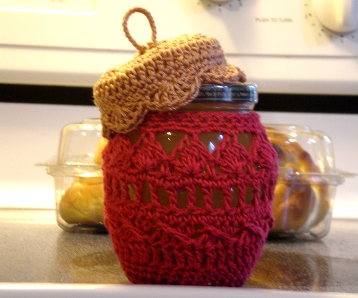 Crochet Jar Cover: This I made with a Christmas theme, but a few adjustments and would be great for a multitude of things...