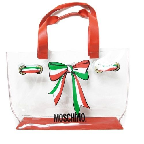 1990's huge MOSCHINO iconic bagClear design with the Moschino signature red/white