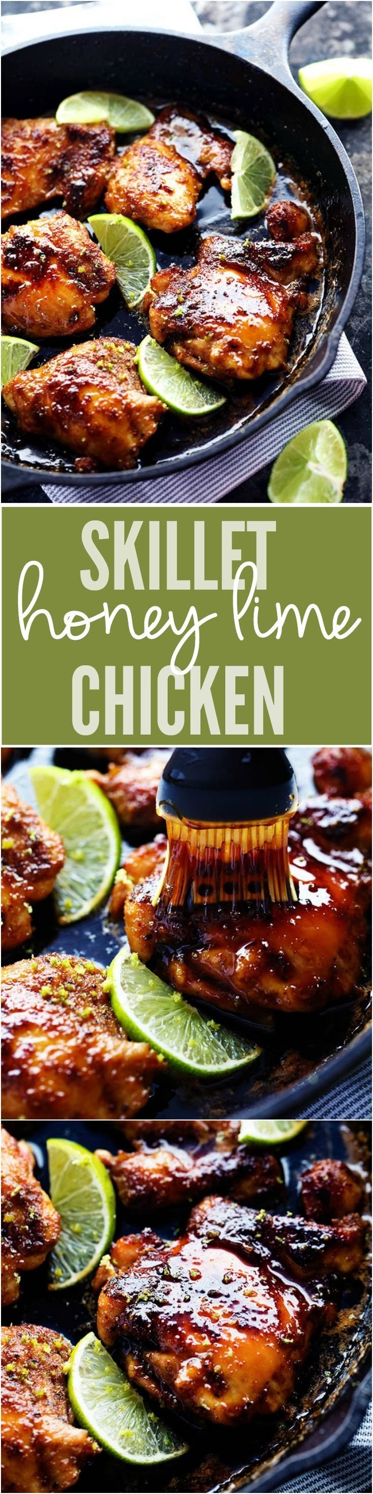 Skillet Honey Lime Chicken ~ delicious spice-rubbed chicken is cooked to tender and juicy perfection and glazed with the most amazing honey lime sauce!