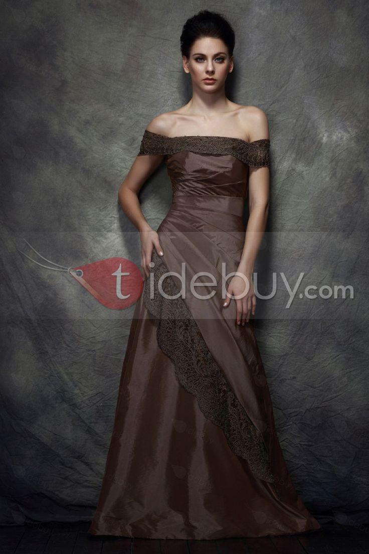 優美なレーストリム Aライン オフショルダー 床までの長さ 花嫁さんの母ドレス
