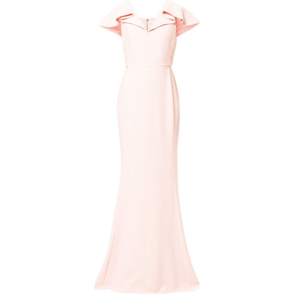 Antonio Berardi ruffle sleeve evening dress (4,635 CAD) ❤ liked on Polyvore featuring dresses, gowns, gown, light pink dress, long pink dress, pink v neck dress, long v neck dress and ruffle sleeve dress