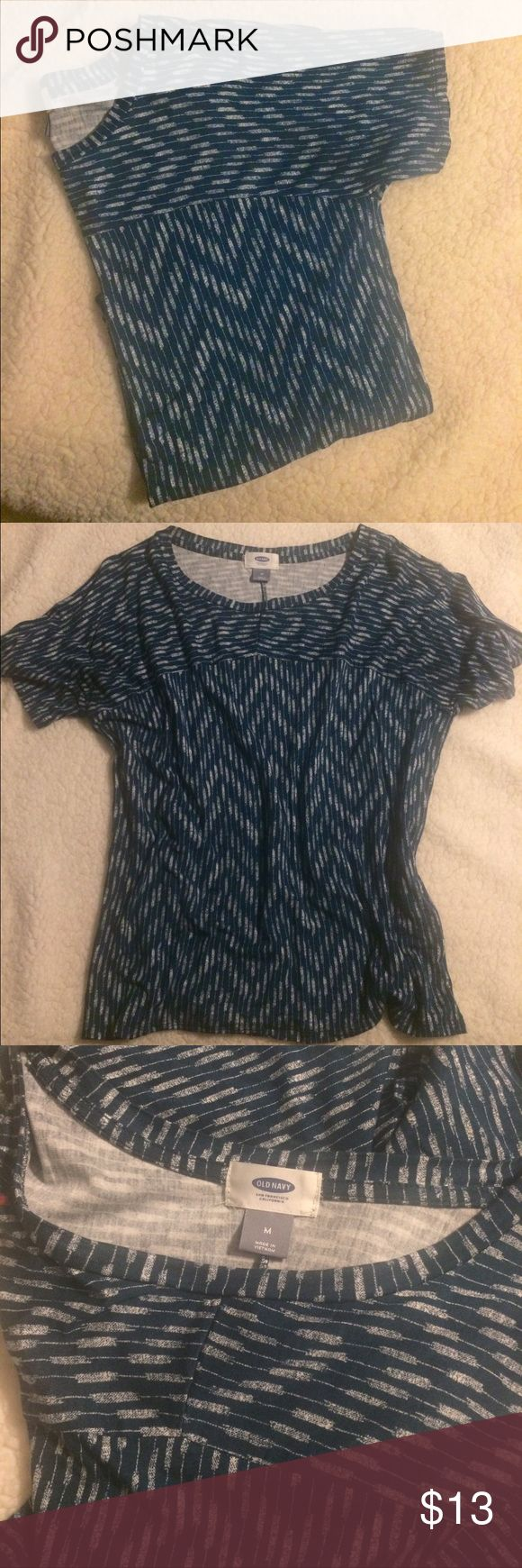 Blue and white chevron top size M Chevron and normal striped top teal/blue colored with white! New without tags. Loose fit. Tops Tees - Short Sleeve
