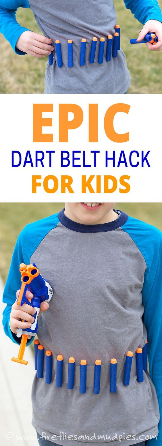 Super simple belt made out of packing tape to hold Nerf gun bullets very easily and accessible for a Nerf gun war birthday party activity