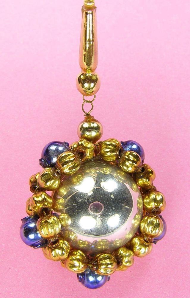 "Old Blown Hollow Glass Beads Czech Christmas Decoration Silv Blue Mirror 3"" Tall"