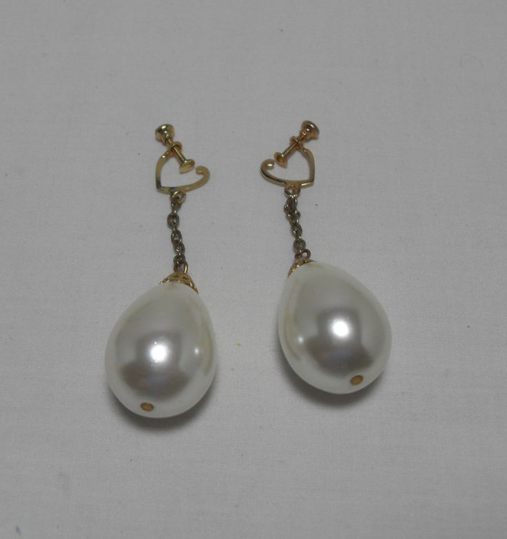 Dangle pearl Earrings, large Pearl screw back earrings, gold tone drop faux pearls, high fashion dangle, hipster jewelry Gingerslittlegems by GingersLittleGems on Etsy