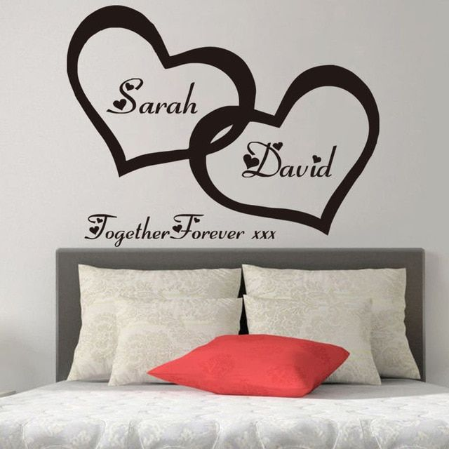 zn g255 hearts custom personalised couple name vinyl art wall