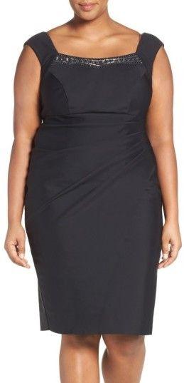 Alex Evenings Plus Size Women's Embellished Square Neck Sleeveless Sheath Dress