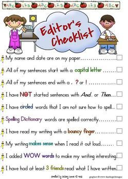 writing checklist - I really like this format!  would also like to add - used the dictionary to check words I was unsure about!