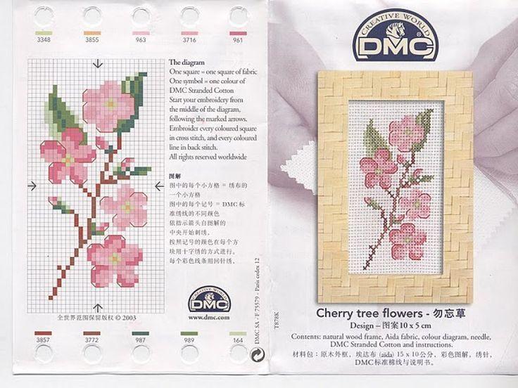 0 point de croix grille et couleurs de fils cherry tree flowers, fleurs de cerisier