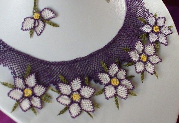 Needle Lace Handmade Necklace Set by AlizeBorealis on Etsy