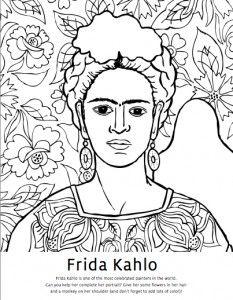 Frida Kahlo artist coloring page