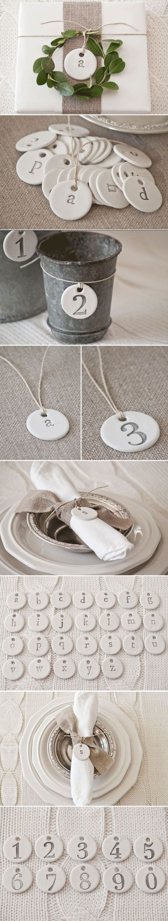 """HACKABLE :: Clay Letter & Number Typography Tags :: These can be easily made w/ clay. Use a 1.5"""" biscuit cutter (Ateco makes cheap sets that include this size--I know bc I have one) & roll out then cut the clay. Stamp w/ rubberstamps w/ letters &/or numbers. Paint the indentations w/ silver paint. Cut a hole thru the top w/ a straw. Bake to harden. Tie w/ twine."""