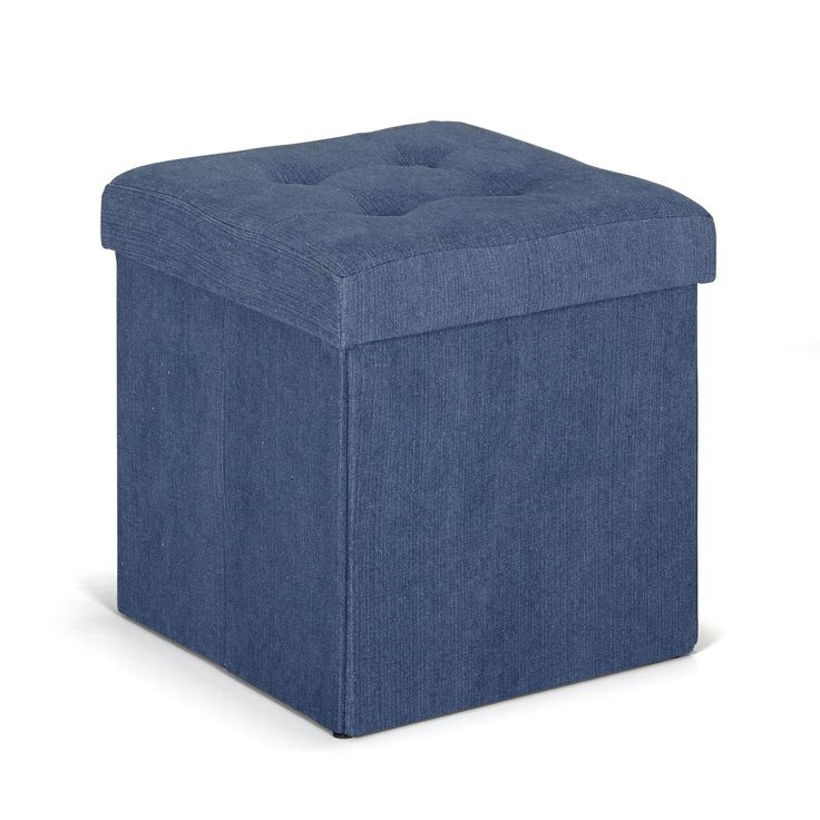 pouf coffre coloris bleu denim pliable bleu denim. Black Bedroom Furniture Sets. Home Design Ideas