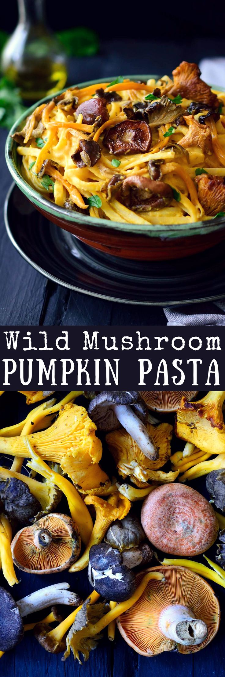 Vegan pumpkin pasta sauce with wild mushrooms is an easy and healthy recipe filled with the flavours of autumn. An easy 4-ingredient pumpkin sauce tossed with pasta and topped with sautéed mushrooms, garlic and herbs will give you a filling and delicious 30-minute dinner for a chilly fall evening.