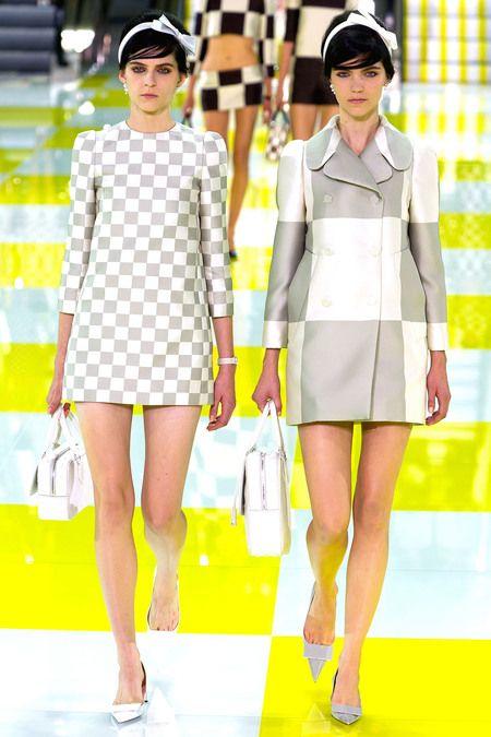 Louis Vuitton RTW S/S 2013.  Models L-R - Kel Markey & Agnes Nabuurs.