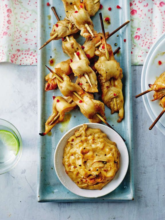 Beautiful chicken satay skewers from Annabel Karmel's Family Cookbook. A perfectly light starter for a special meal, packed with the flavours of Asia.