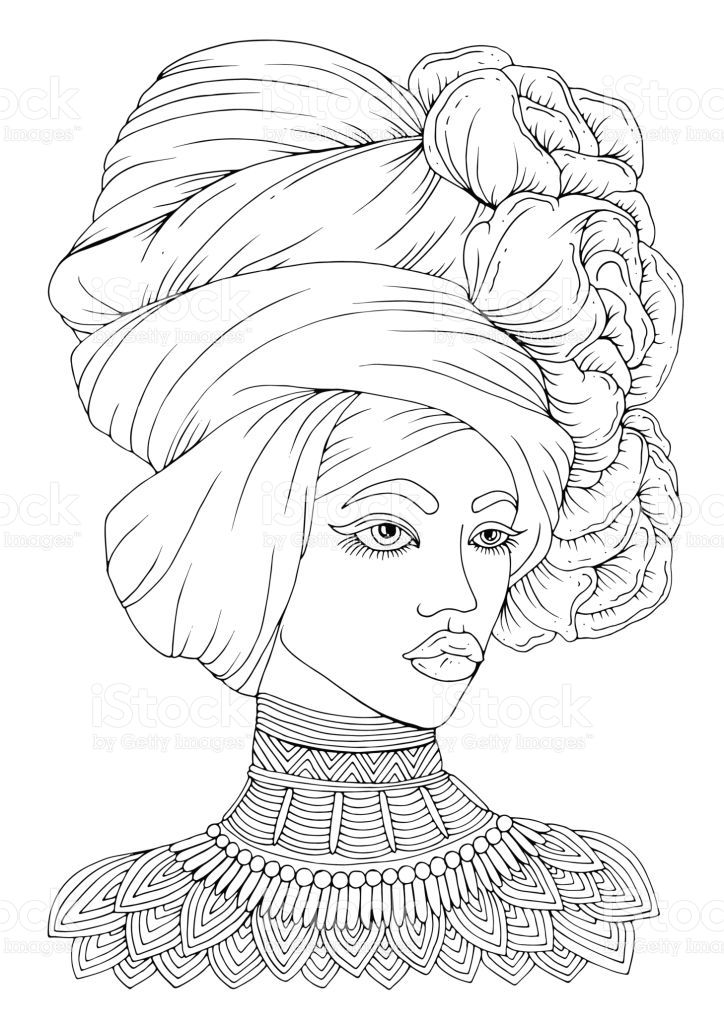 Adult Coloring Beautiful African Woman Coloring Pages