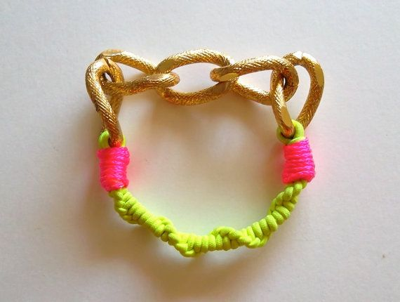 Friendship Bracelet with Neon Yellow Elastic Hot Pink by deezdoggs, $24.00